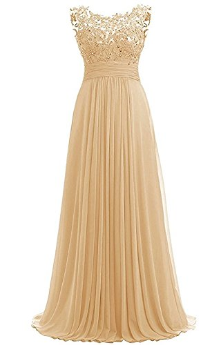 PROMLINK Women's Beaded Chiffon Long Dresses for Gown Wedding Guest Gold