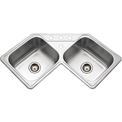 Houzer LCR-3221-1 Legend Series Topmount Stainless Steel Corner Bowl Kitchen Sink (Corner Kitchen Sink)