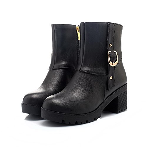 Round top Women Kitten botas PU negras Allhqfashion Low Heels sólidas Toe de fIUwxw5Hq