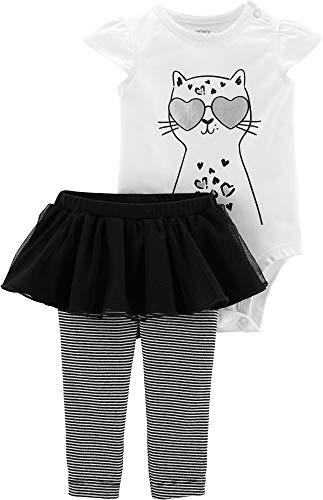 Carter's Baby Girls Cool Cat Tutu Bodysuit Set 6 Months White/Black