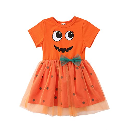 Toddler Baby Girl Halloween Clothes Pumpkin Short Sleeve Princess Dress Lace Tutu Skirt Outfits]()