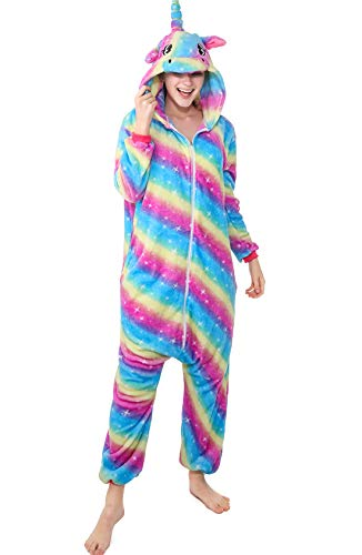 XVOVX Unisex Adults and Children Rainbow Unicorn Cosplay Costume Pajamas Onesies Sleepwear (XL fits for Height 69