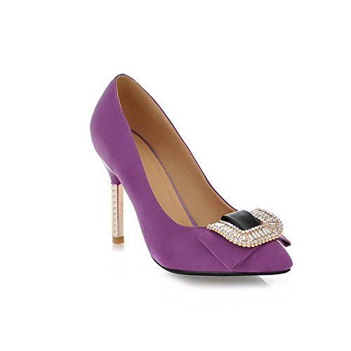 VogueZone009 Womans Closed Pointed Toe High Heel Suede Solid Pumps with Rhinestones, Purple, 5 UK