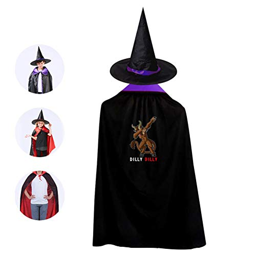 Kids hristmas Deer Dab Halloween Costume Cloak for Children Girls Boys Cloak and Witch Wizard Hat for Boys Girls Purple ()