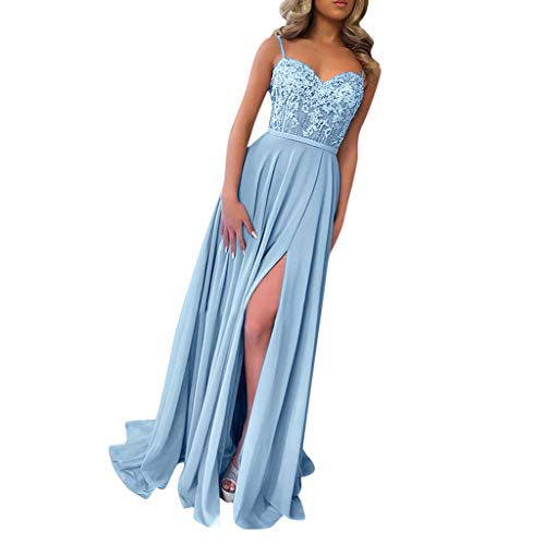 Women Off The Shoulder Backless Formal Long Lace Evening Party Dress Split Prom Ball Gown Bridesmaid Dresses Blue