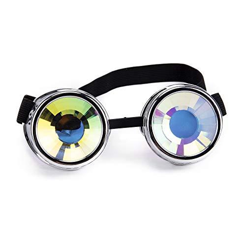 Lelinta Steampunk Kaleidoscope Goggles Rave Glasses Rainbow Crystal Glass Lens -