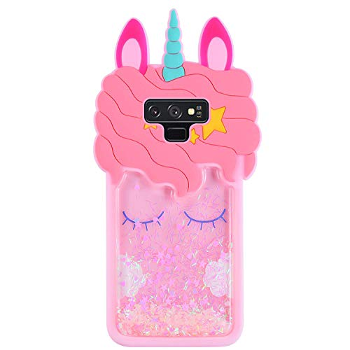 Lalakaka Quicksand Unicorn Case for Samsung Galaxy Note 9, Animal Character 3D Cartoon Cute Silicone Shiny Glitter Soft Animated Fun Bling Stylish Fashion Cool Funny Cover for Girls Kids Teens(Note - Case 3d Note 3 Cartoon