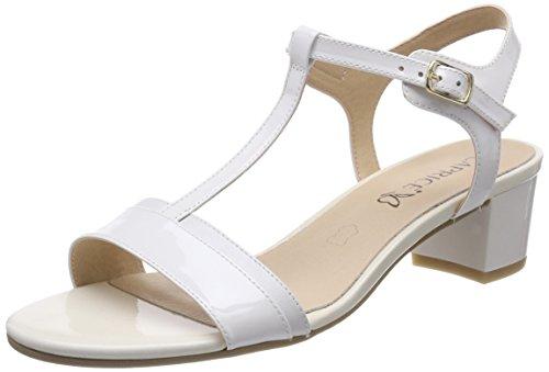 alla 125 Com 28215 Caprice Caviglia Sandali Wht con Patent Cinturino Donna Bianco I7IACwqZx