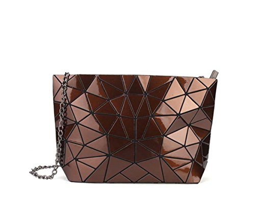 Color Split Pu Leather (Flada Womens Metallic Color PU Leather Geometric Split Joint Plaid Shoulder Bags with Chain Coffee)