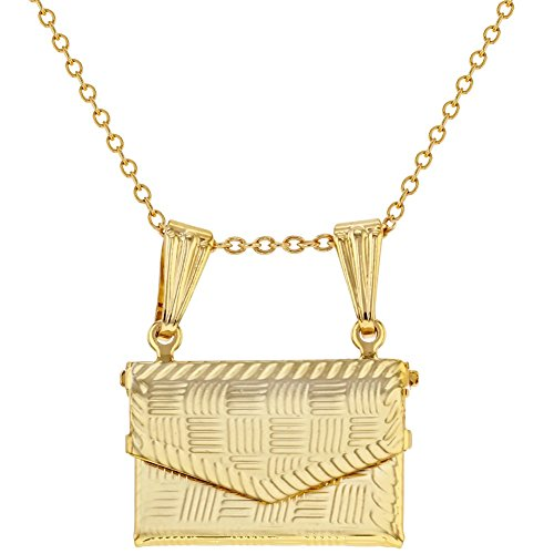 (In Season Jewelry Gold Tone Purse Handbag Prayer Box Keepsake Necklace Pendant 19