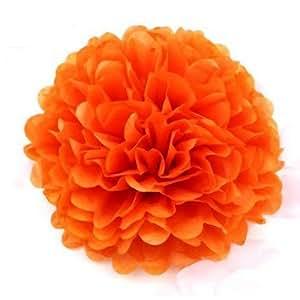 Bola de la flor muy multivariante snki (24 cm) 5 piezas 25,4 cm Pastel papel pompones fiesta y boda condecoraciones, naranja oscuro