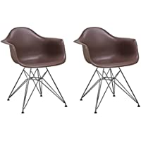 Mod Made Mid Century Modern Paris Tower Dining Arm Chair Chrome Leg, Chocolate, Set of 2