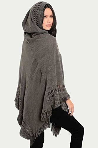 La Mujer Elegante Con Capucha Vintage 1940 Otoño - Invierno Hollow Out Tassel Patchwork Manto CAPES Blusas Ireegular Bufandas Grey