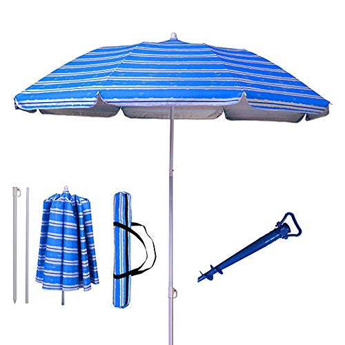 AMMSUN 6ft Two Folded Patio Beach Umbrella for Sun and Outdoor with Sand Anchor,with Metal tilt Portable Cabana Silver Coating Inside with 99% UV Protection Stripe (Blue)