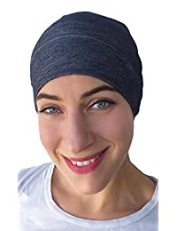 Soft Comfy Sleep and Chemo Cap, Hat Liner (Petite/Small, Blue Soft Denim)