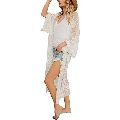 Exlura Women's Long Floral Beachwear Cardigan Lace Crochet Kimono Hollow Cover up Swimwear