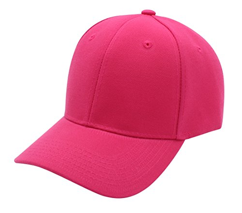 Top Level Baseball Cap Hat Men Women - Classic Adjustable Plain Blank, HPK Hot Pink