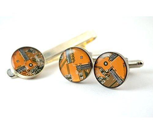 e29c43c7207b Amazon.com: Circuit Board Cufflinks and Tie Bar Set: Handmade