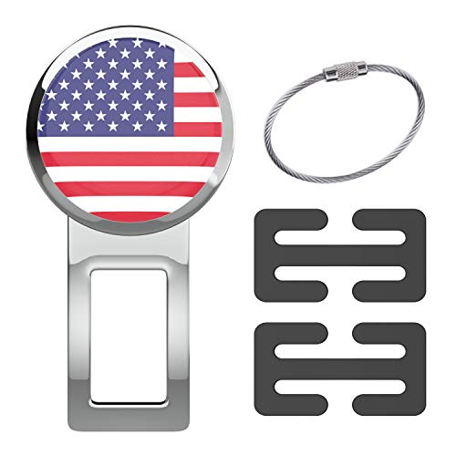 journeyxl American Flag Emblem Decorative Seatbelt Jewelry Alarm Mute Silencer Stopper Universal