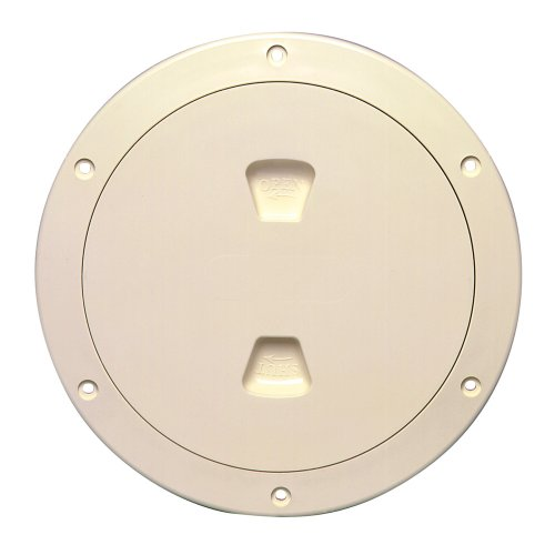 (Beckson Marine Inc 10169583 Beckson 6 Smooth Center Screw-out Deck Plate - Beige)