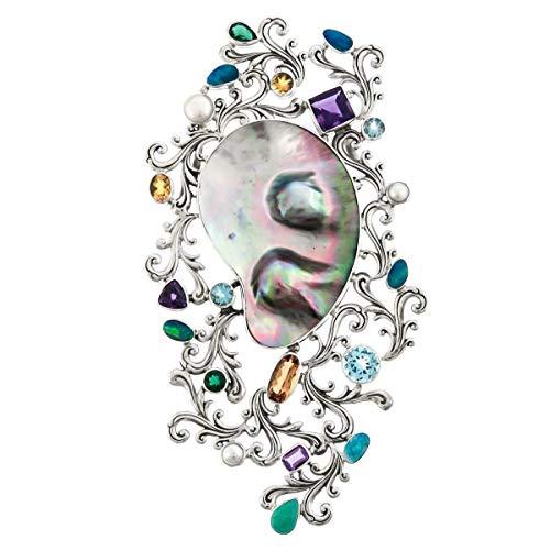 5 7/8'' Designer MABE Pearl GEMS 925 Sterling Silver Pendant/Brooch YE-703