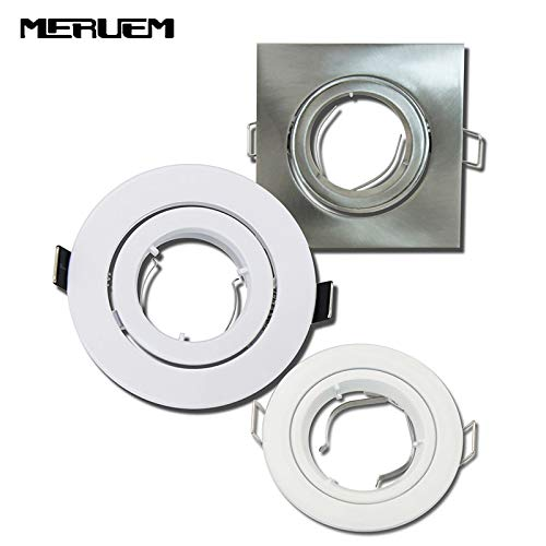 Laliva 10pcs/lot Ceiling spot light Square and Round aluminium body double ring without lamp source/Single Rotation /GU10/MR16 Socket - (Color: 1005 White, Base Type: MR16)