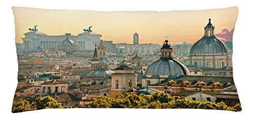 Ambesonne City Throw Pillow Cushion Cover, View of Rome from Castel Sant'Angelo Italy Historical Landmark Vatican, Decorative Rectangle Accent Pillow Case, 36
