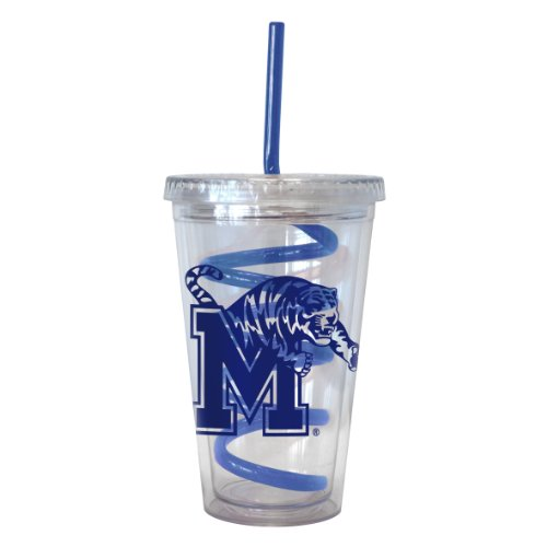 NCAA Memphis Tigers Tumbler with Swirl Straw, 16-ounce ()
