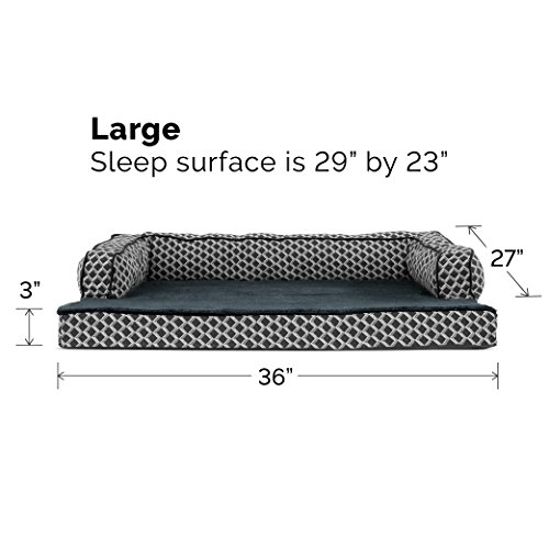 Furhaven Pet Dog Bed | Cooling Gel Memory Foam Orthopedic Plush & Décor Comfy Couch Pet Bed for Dogs & Cats, Diamond Gray, Large by Furhaven Pet (Image #2)
