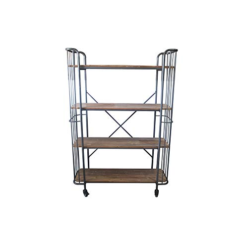 "Herrera 41.53"" Bookcase in Dark Gray and Dark Fir  with Casters, Shaped Tubular Steel Frame And Four Solid Wood Shelves, by Artum Hill"