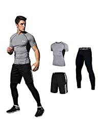 HOTIAN Men's Basketball Running Compression Suits Shirt+Pants+Short (Pack of 3)