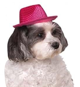 Rubies Costume Company Fedora Pet Costume Accessory, Medium/Large, Pink Sequin