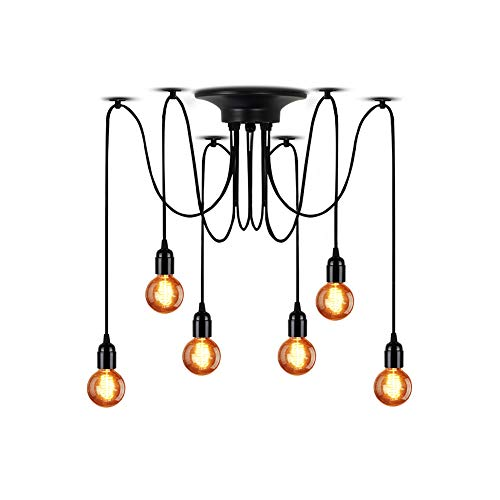 Lampundit DIY Chandelier 6-Light Spider Pendant Lighting Vintage Edison Ceiling Spider Light Lamps, Industrial Hanging Light Fixture for Dining Room Kitchen Foyer Hallway (Each with 6ft Wire)]()