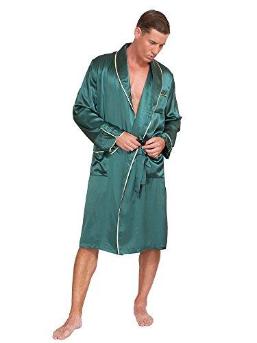 - MYK SILK - Men's Classic Silk Robe (XX Large, Dark Green)