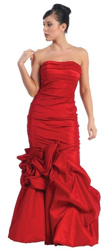 Strapless Elegant Gown Formal Prom Dress #758 (14, Red)