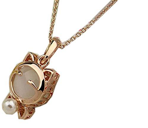 Fashion Jewelry Lucky Cat Bohemian Statement Necklace Cat Eye Stone Pendant Necklace Female Elegant Necklace,White