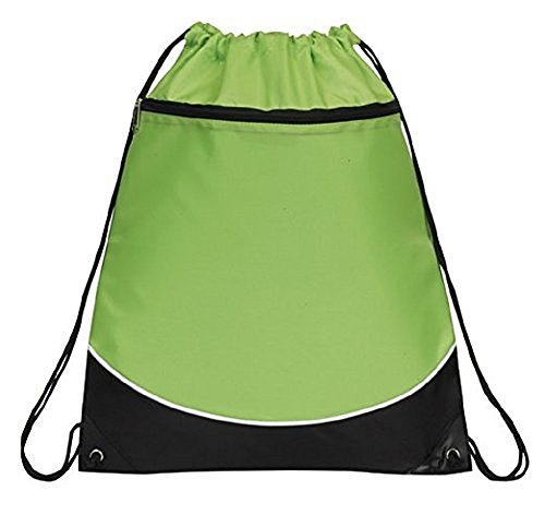 Deluxe Lime Green, Black, & White Drawstring Sports Shoulder Bag