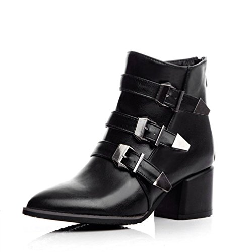Pointed Buckles Heels Booties Black toe High AIWEIYi Thick Red Ankle Womens Boots Platform 5SBn1q4