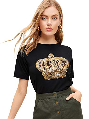 SOLY HUX Women's Summer Round Neck Short Sleeve Sequin Tee Shirts Solid Top Black M