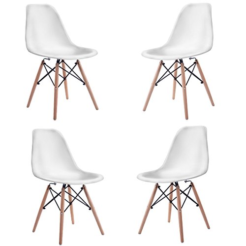 Costway Set of 4 Eames Style Chair Mid Century Modern DSW Side Chair Wood (Eames Chair Base)