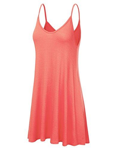 Women's Basic Tank Tunic coral Spaghetti Awdsd0612 NINEXIS Strap Cami Dress d1n7dqR