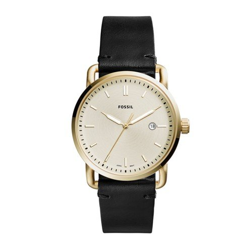 Fossil Men's 'The Commuter' Quartz Stainless Steel and Leather Casual Watch, Color:Black (Model: (Fossil Black Leather)