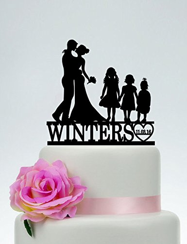 Family Custom Wedding Topper Bride And Groom With Three Little Girls Couple With Child Wedding Cake Toppers Letters Funny Wedding Anniversary Cake Topper Party Event Decorations Wedding Gift by Dikoum