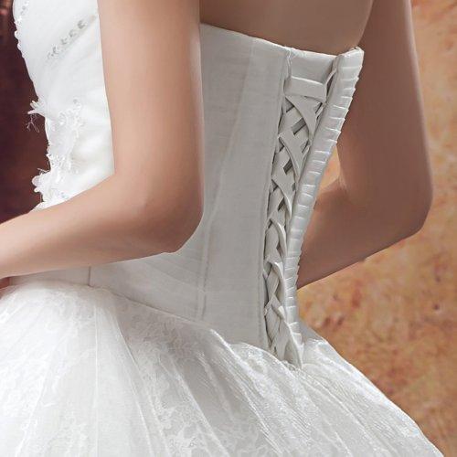 Linie Kleidungen Applikation Spitze Herz Brautkleider Dearta Prinzessin Damen Mit Bodenlang Elfenbein Ausschnitt A Kristall At665q