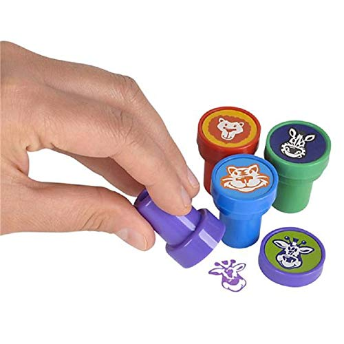CUZAIL Party Favors Stamps Gifts Party Supplies Adults & Kids- Assorted Animals and Colors - Bulk Box of 24 Stamps - Toys Fun Holiday Decorations ()