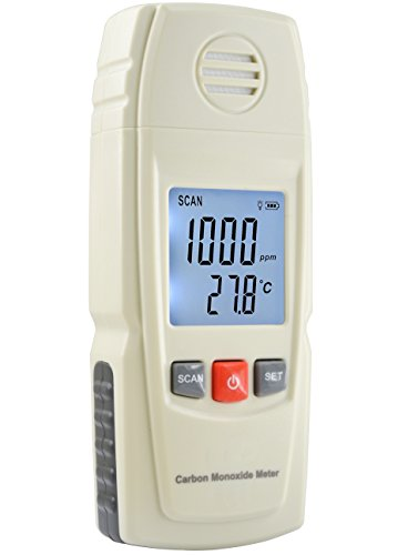 Basic Carbon Monoxide Handheld CO Meter by FORENSICS | Adjustable Alarms | Large Display | Stylish Ivory Color | Includes Batteries & Installed | Measure up to 1000ppm | Home & Light Industrial Use | from FORENSICS