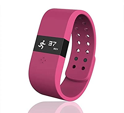 Digicare® ERI Bluetooth 4.0 Smart Watch Update Smartband Fitness Activity Tracker Bracelet Sleep Monitor Wristband W/led Touch Screen Waterproof Ip67 Thermometer Measuring Heart Rate for Andriod & Ios (Pink)