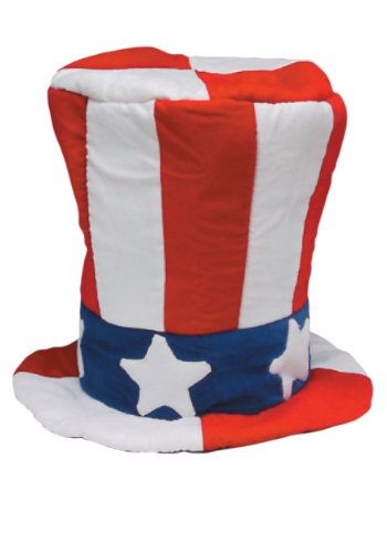 [Jacobson Hat Company Men's Velvet Top Hat with US Flag Pattern, Multi, One Size] (Velvet Uncle Sam Top Hat)