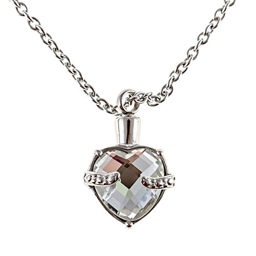 Zoey Jewelry Heart Urn Necklace Pendant for Cremation Ashes 5 Colors (Clear White)