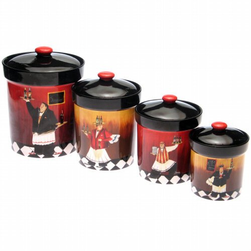 4 Piece Chef Set - Certified International 12205 Bistro 4-Piece Canister Set
